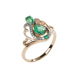 Кольцо золотое зеленое