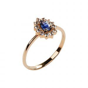 Кольцо золотое синее